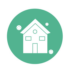 house with corona virus particles silhouette block vector image