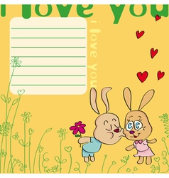 i love you card with kissing rabbits vector image