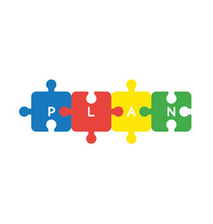 icon concept of four connected plan jigsaw puzzle vector image