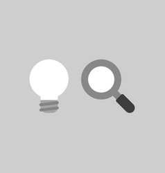 Icon concept of grey light bulb with magnifying vector