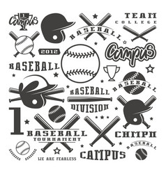 Icons and badges set baseball team vector