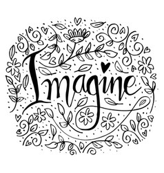 imagine hand lettering vector image