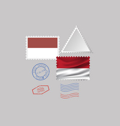 Indonesia flag postage stamp set isolated on gray vector