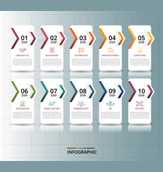 Infographic industry 40 template icons in vector