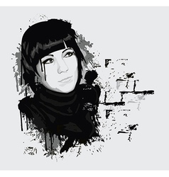 Ink style portrait of woman vector