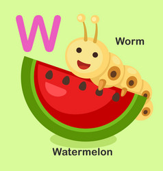 isolated animal alphabet letter w-watermelon worm vector image