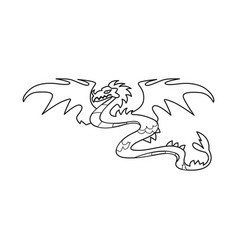 Isolated object dragon and monster logo set of vector