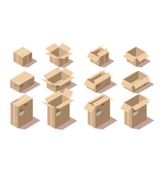 isometric cardboard delivery package boxes vector image