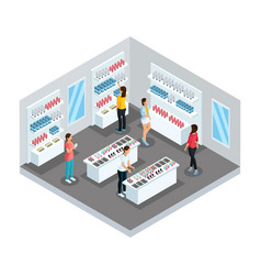 Isometric cosmetic store template vector