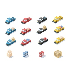 Isometric set of wagon car with cargo vector