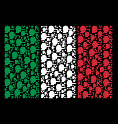 Italy flag collage of lier items vector