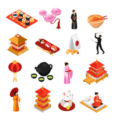 japan isometric icons set vector image