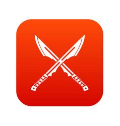 japanese tanto daggersicon digital red vector image