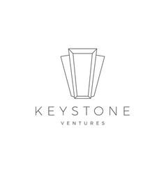 keystone key stone logo icon line outline monoline vector image