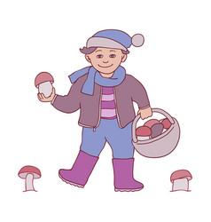 Kid boy with mushrooms in vector