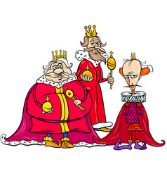 Kings cartoon fantasy character group vector