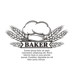 Label chef with toque and spikelets wheat vector