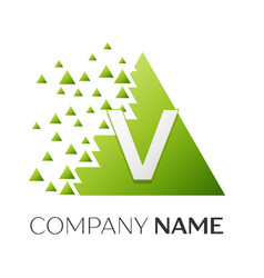 letter v logo symbol in colorful triangle vector image