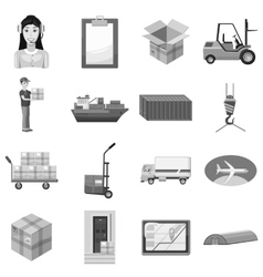 Logistic icons set gray monochrome style vector image