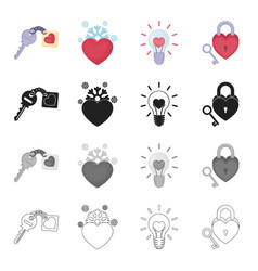 logo love relationship and other web icon in vector image