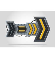 metal arrow navigation sign cyberpunk style vector image