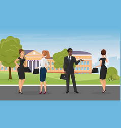 office people talk standing together in city park vector image
