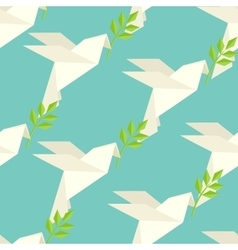 Origami dove on pattern vector image
