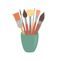 Paint brushes in cup cartoon style design element vector