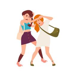 Pair of teenage girls fighting conflict between vector