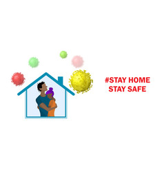 People inside house and viruses around vector