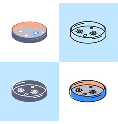 petri dish icon set in flat and line style vector image