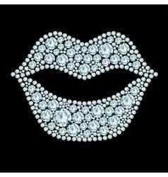 Plump lips made diamonds vector