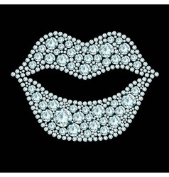 Plump lips made of diamonds vector