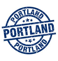 Portland blue round grunge stamp vector
