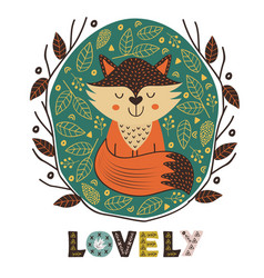 Poster cute fox in scandinavian style vector