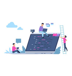 Programming concept with people characters vector
