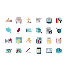 Property intellectual copyright icons set vector