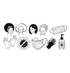 protection items and characters in masks vector image