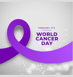 Purple ribbon concept for world cancer day design vector