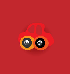 red car in the toy style funny bright for baby vector image