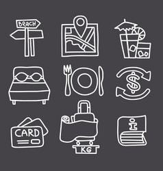Resort and travel icons vector