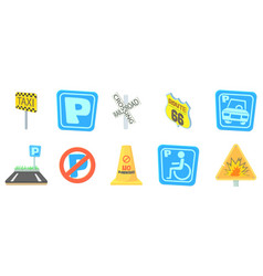 road sign icon set cartoon style vector image