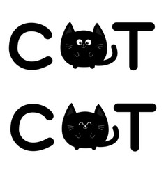 round shape black cat text icon set lettering vector image