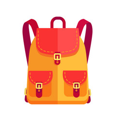 Rucksack for girl in orange and red color vector