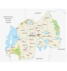 rwanda road and national park map vector image