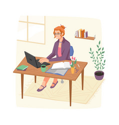 Secretary or accountant working from home office vector