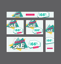 Set geometric white and teal clearance sale web vector