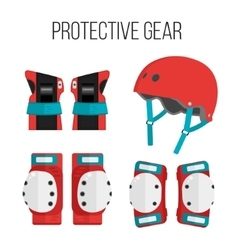 Set of flat roller skating protective gear vector