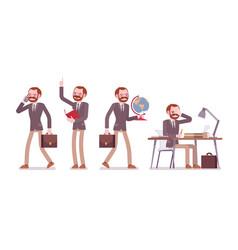set of male professional teacher in school scenes vector image
