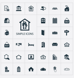 Set of simple estate icons vector